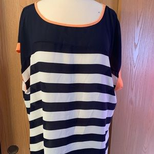 Blue striped blouse with open back